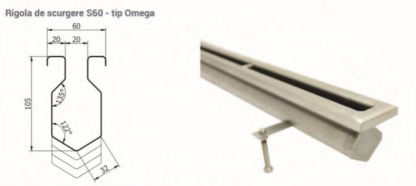 Rigola de scurgere S60 - tip Omega